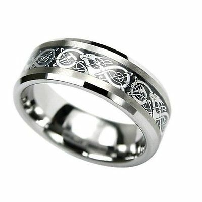O 8mm Tungsten Carbide Celtic Dragon Gold Inlay Flat Comfort Fit Wedding Band Ring Any Size Hafl Sz Available