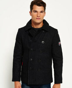 Superdry Rookie Peacoat chaquetas M-charcoal Herringbone