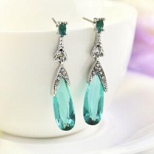Women-925-Silver-Aquamarine-Fashion-Dangle-Drop-Earrings-Anniversary-Jewelry