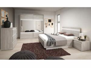 Details zu Schlafzimmer-set London Modern Schlafmöbel Komplett mit  Lattenrost Bettkasten
