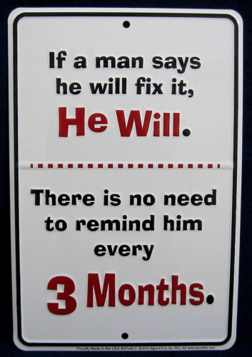 Man Cave Garage Shop Bar Wall Decor A MAN WILL FIX IT *US MADE* Embossed Sign