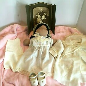 Vintage-Christening-Gown-5-pc-Outfit-Baby-Girl-Coat-Dress-Slip-Cap-Shoes-1950s