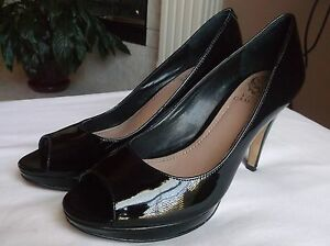 f53ac56560 Vince Camuto Women's Black Patent Leather Peep Toe Heels Pumps 7B ...