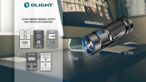 Olight S1 Baton LED Flashlight 500 Lumen Compact EDC Use 1x CR123 or RCR123 S10