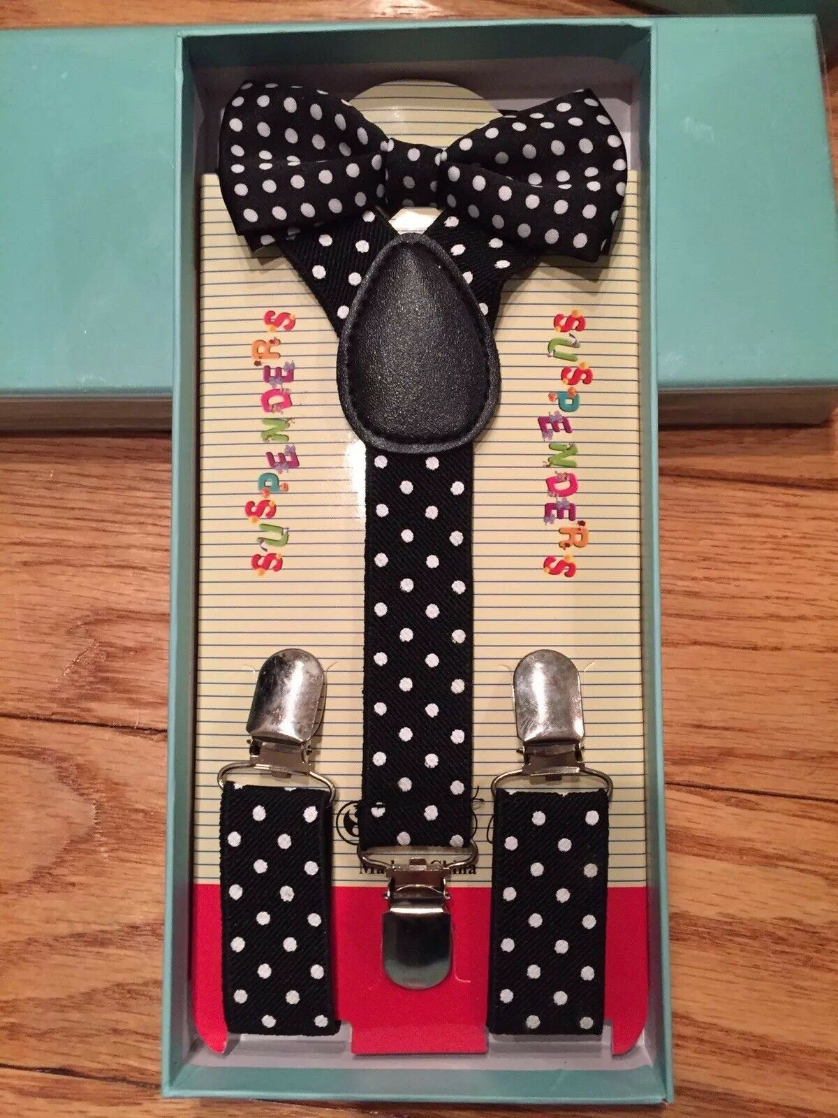 Suspenders and Bow Tie Black White Polka dots Boxed Gift Set Toddler Kids