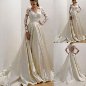 Vintage-A-Line-Wedding-Dress-Long-Sleeves-Lace-Satin-Bridal-Gown-Applique-Custom