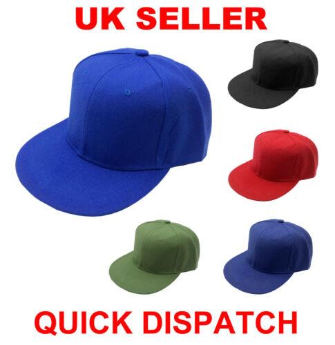 Original Retro Flat Peak Cap Snapback Hat Baseball Cotton Adjustable Plain Solid