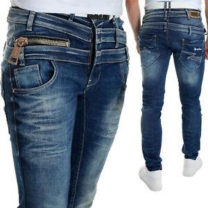 Herren Cipo & Baxx Blaue Jeans Triple Taille Designer Metall Groß Zip W29-W34