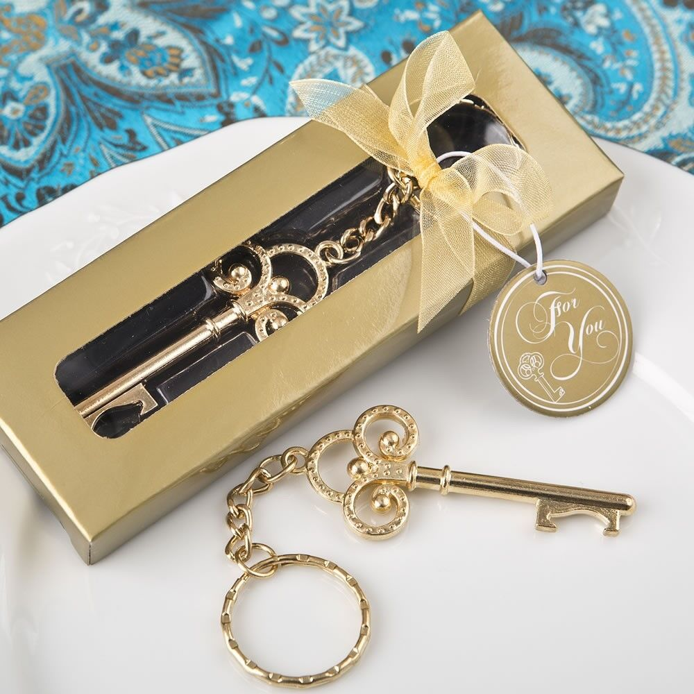 100 Gold Vintage Skelton Key Bottle Opener Wedding Bridal Shower Party Favors