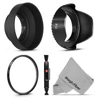 52mm Uv Filter + Lens Hood + Cap For Nikon D7200 D7000 D5300 D5000 D3100 D3000 on sale