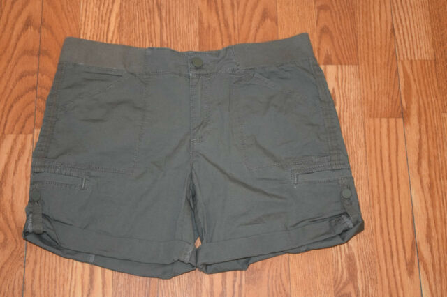 Nwt Womens Khakis Co Dusty Olive Green Cotton Cuffed Pull On Short Shorts 18