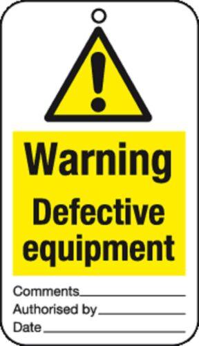 10 x avertissement de l/'équipement défectueux cravate tag signes-job lot santé et sécurité