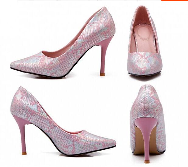 zapatos de salón mujer color rosa efecto pitón tacón aguja 9 cm código 8235