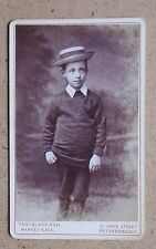 CDV Photo: Boy Wearing a Straw Boater Hat. Thomas Blackman, Peterborough (36295)