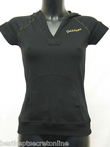 NEW-LADIES-GENUINE-GOLDDIGGA-HOODED-BLACK-WITH-GOLD-POCKET-FRONT-TOP-8-10-12