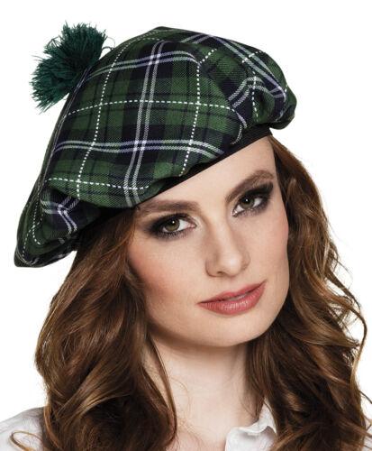 Chapeau écosse déguisement tartan béret femme écossaise accessoire calot pompon