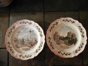 Image is loading 2-Wedgwood-Queen-039-s-Ware-Christmas-Plates- & 2 Wedgwood Queenu0027s Ware Christmas Plates Windsor Castle 80 Trafalgar ...