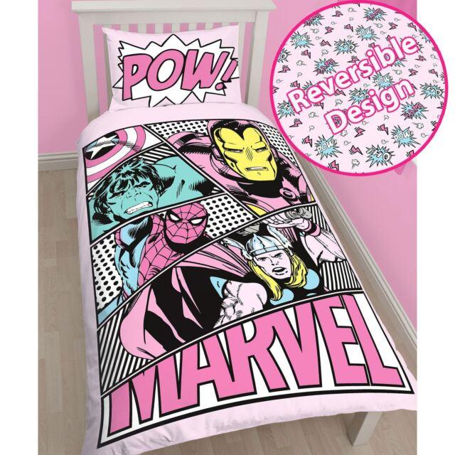 Marvel Comics Officiel Rose Pastels simple housse de couette et taie d'oreiller