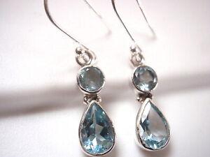 Faceted Blue Topaz Round Shape Gemstone Earring For Sale sve5349 925 Sterling Silver Designer Handmade Earring Jewelry Length 1.6