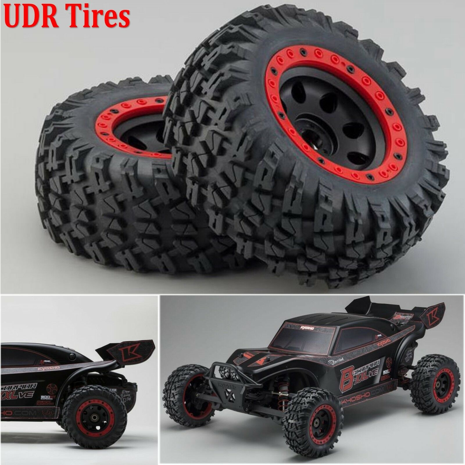 4pcs RC Car Tires Wheel without Paste For 1/7 Traxxas Unlimited Desert Racer UDR