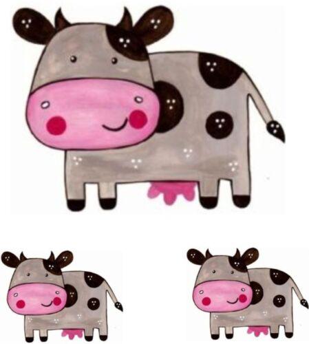 Set 3x sticker decal wall fridge children room animal decorate cow draw macbook