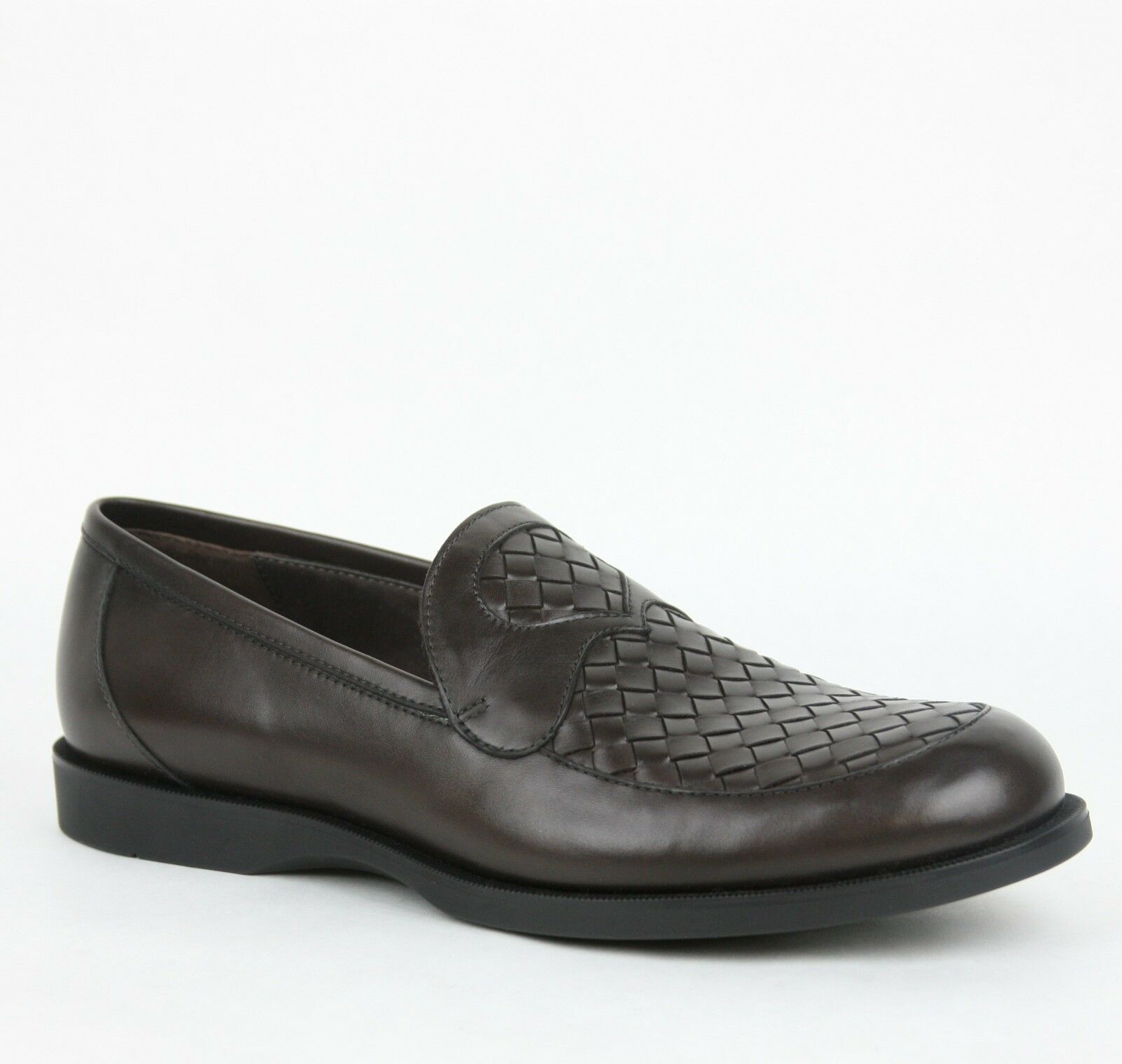 740 New Bottega Veneta Mens Dk Brown Woven Leather Loafer Moccasin 285660 2006 c69af2