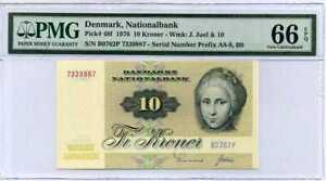 DENMARK-10-KRONER-1976-P-48-GEM-UNC-PMG-66-EPQ