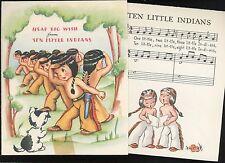 Ten Little Indians Brithday Greetings w Words & Music Insert 1940s