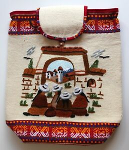 Peruvian-Backpack-Drawstring-Hand-Crafted-Embroidered-amp-Padded-People-Peru-4