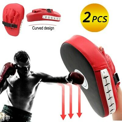 2pcs Boxing Pads Mitts Boxing Punch Muay Thai Training Strike Pad Curved Kick AT