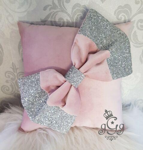 Bow Cushion Blush pink Silver. Glitter Soft Velvet