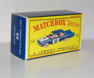 Matchbox-Lesney-No-55-FORD-FAIRLANE-POLICE-CAR-empty-Repro-D-style-Box