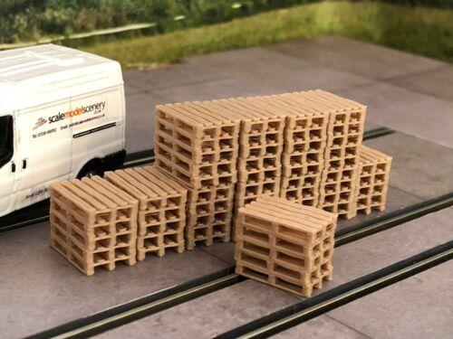 3D PRINTED REAL WOODEN PALLET STACKS OO GAUGE 1:76 SCALE MODEL RAILWAY AX065-OO