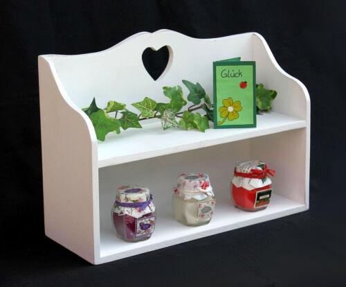 Étagère avec cœur 12048 Miniregal 35 cm Blanc Bijoux Étagère Shabby Maison De Campagne à épices