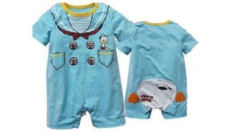 New Baby toddler boy Donald Blue Duck Romper jumpsuit pink PJ sleepwear outfit