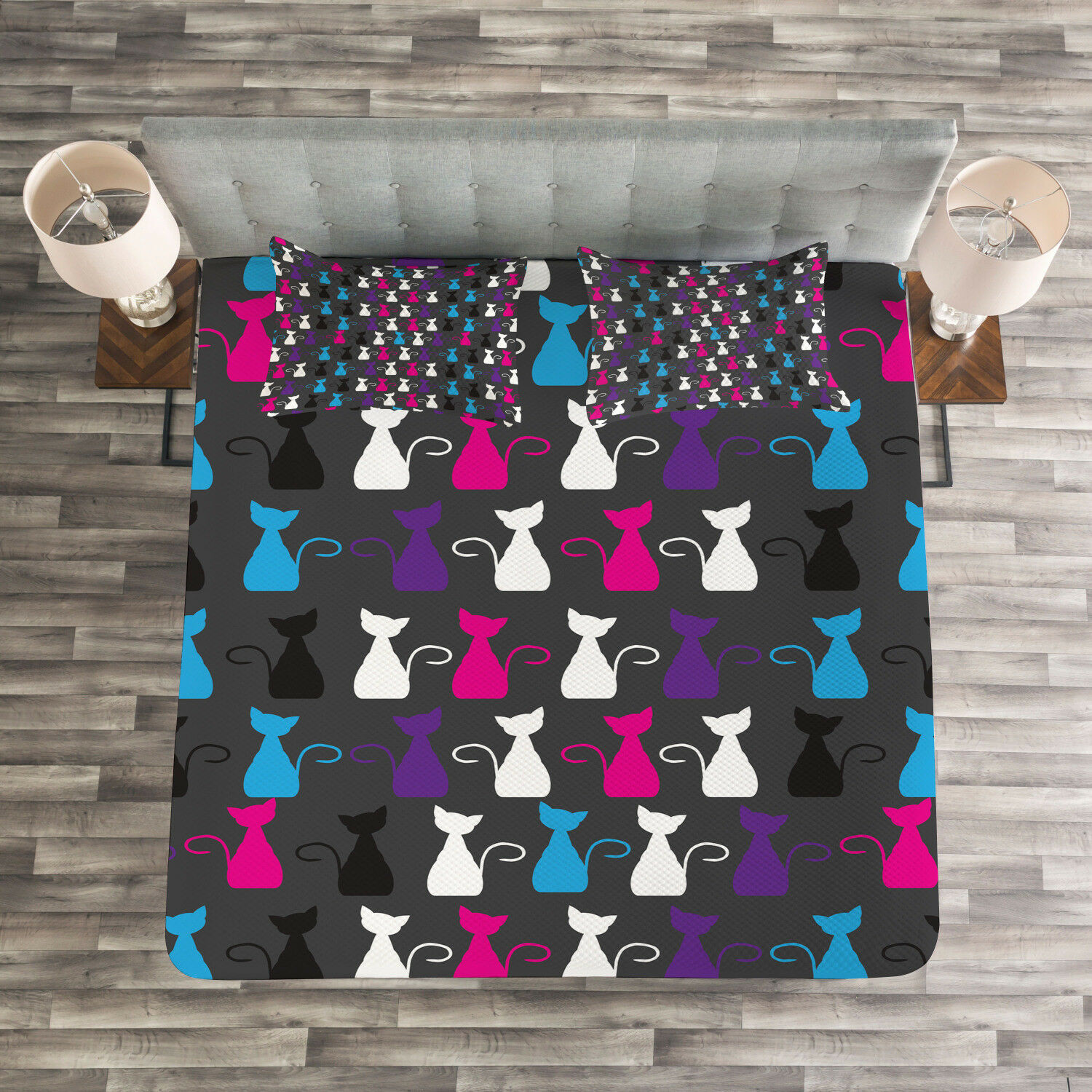 Kids Quilted Bedspread & Pillow Shams Set, Fun Cats Print