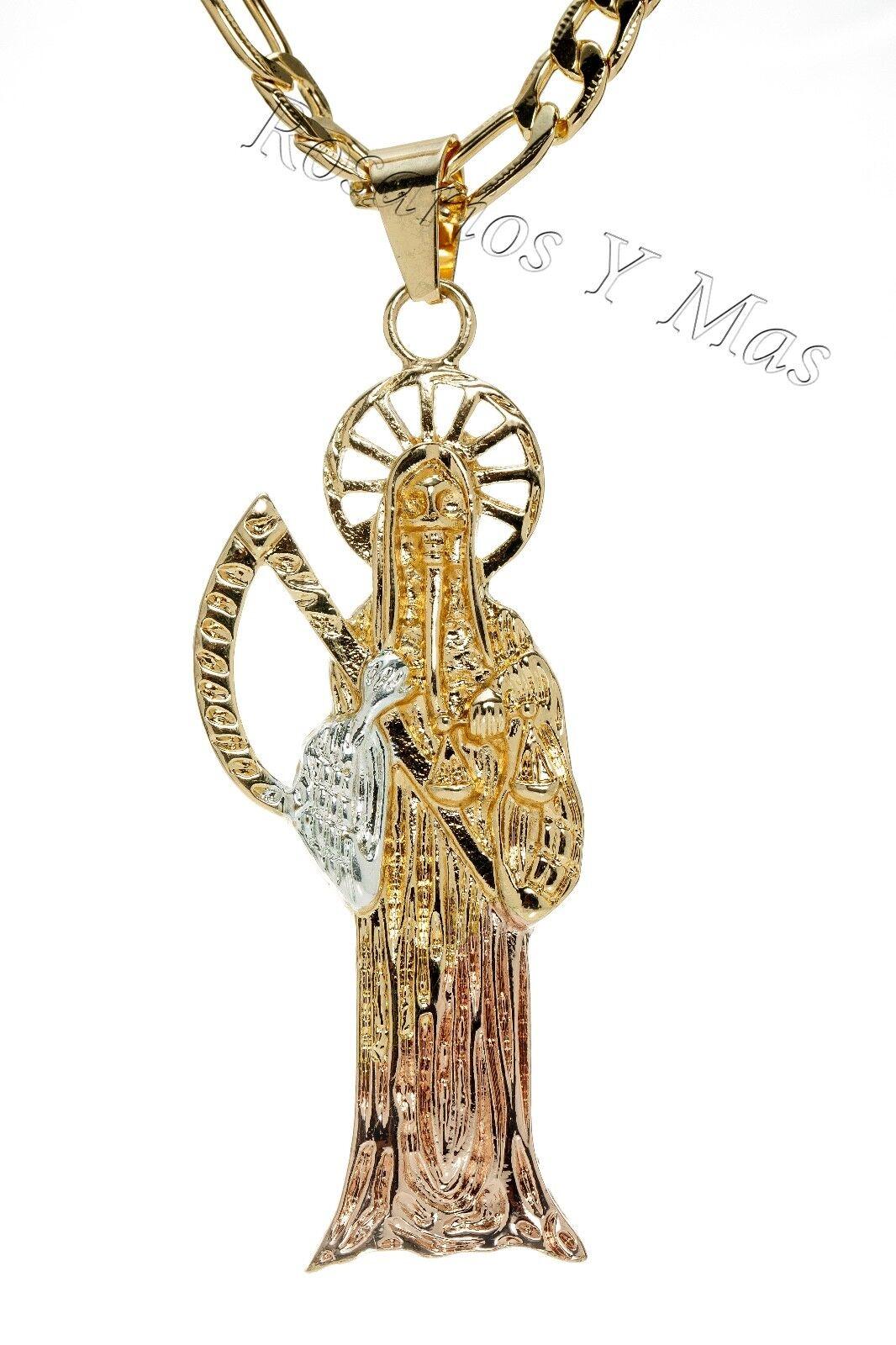 Santa Muerte gold Laminado Medalla con Cadena de 26  Tres golds Acero
