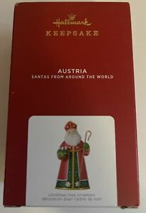 Hallmark 2021 Santas From Around the World Austria Porcelain and Metal Ornament