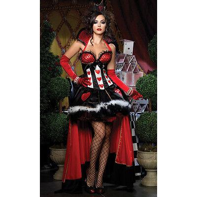 SEXY DELUXE QUEEN OF HEARTS ALICE IN WONDERLAND FANCY DRESS 6 8 10 12 14 N5848
