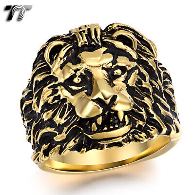 RZ06 High Quality TT 316L Stainless Steel 3D Lion Ring Size 8-14 NEW