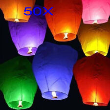 50X Mix Color Paper Chinese Lanterns Sky Fly Candle Lamp for Wish Wedding Party
