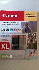 Genuine Canon PGI-250XL Black, CLI-251XL B/C/M/Y Ink Cartridges, 5-Pack.