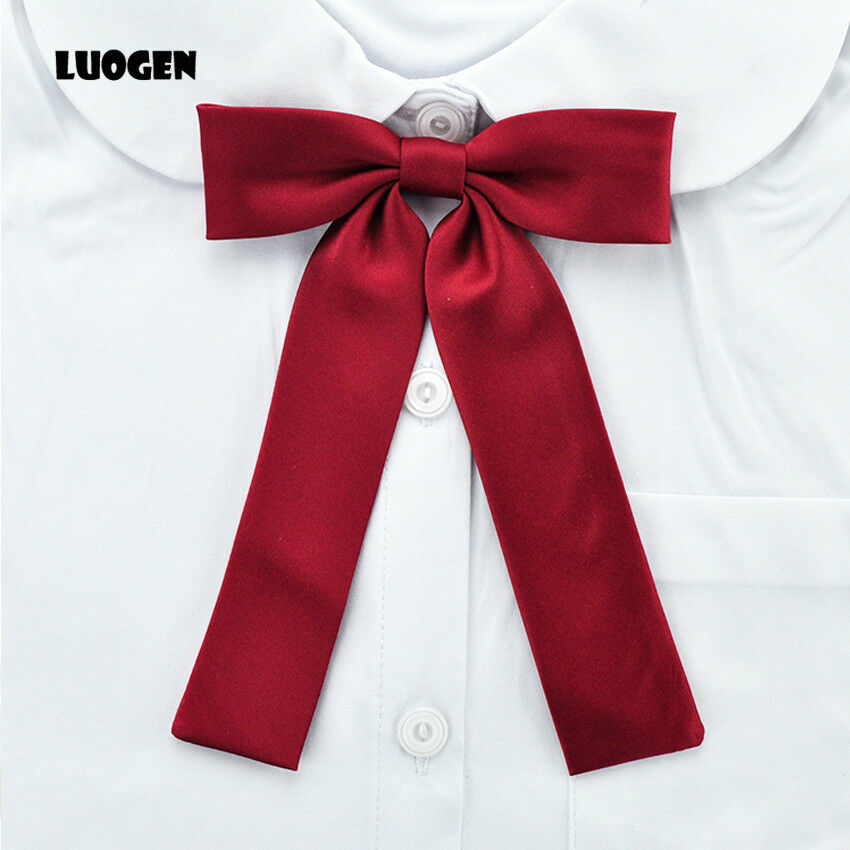 Women Japanese Long Bow Tie For School Girls Uniform Student Solid Color Cosplay