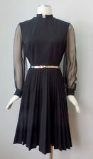 Vintage 70s Mod Sheer Sleeve Pleated Little Black Goth Mini Dress S