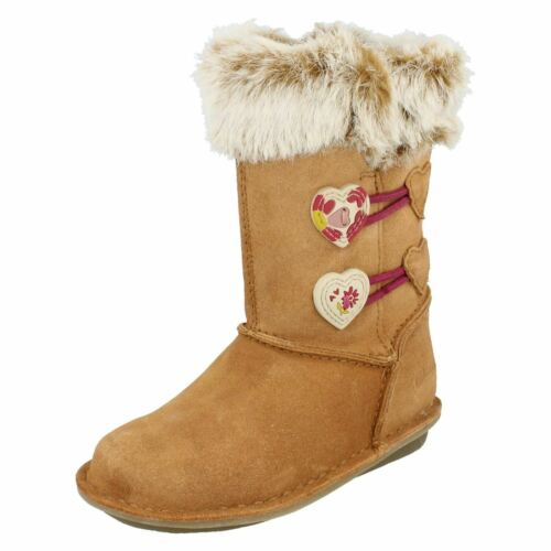 Girls Clarks Boots With Faux Fur Trim Snuggle Folk Inf