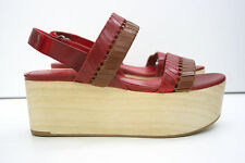 NEW Whistles Eden Red Leather Platform Wooden Sandals Strapy Woven Chunky Size 5