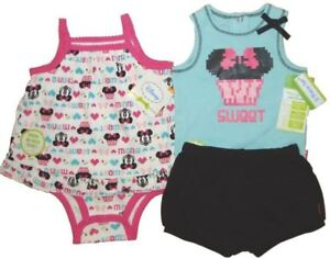 325d2bde57a Details about Lot Disney Minnie Mouse Bodysuit Shorts Top Girls Summer Baby  Clothes Outfit 3 6
