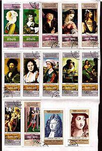 Yemen-14T-Flatback-On-Sheet-Portrait-Of-Painter-Famous-Museums-Renamed-C226