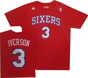 on sale dfc8c 04aea Details about Philadelphia 76ers Sixers Adidas Allen Iverson Adidas  Throwback Red Shirt