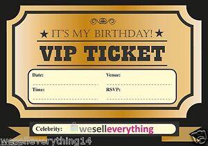 20 vip ticket invite birthday party invitations kids boys girls, Party invitations